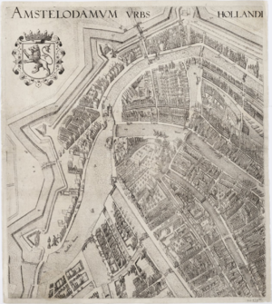 Pieter Bast - Part 1 of a 4-part map of Amsterdam by Pieter Bast, 1599