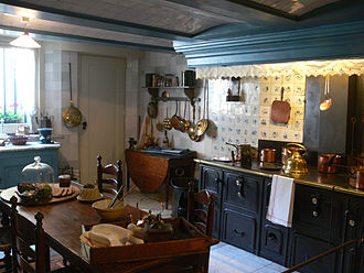 Historic house museum - Kitchen in Museum Van Loon in Amsterdam in the Netherlands