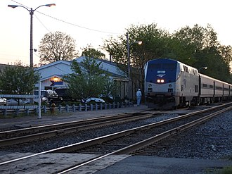 Blue Water (train) - An Amtrak Blue Water train pulling into the East Lansing station.