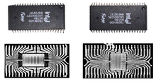 7cb9125982932 An authentic Intel flash memory IC (right) and its counterfeit replica  (left). Although the packaging of these ICs are the same