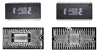 Counterfeit - Image: An authentic flash memory IC and its counterfeit replica