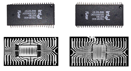 An authentic Intel flash memory IC (right) and its counterfeit replica (left). Although the packaging of these ICs are the same, an X-ray image reveals that the inside structure of the fake one is different. An authentic flash memory IC and its counterfeit replica.png