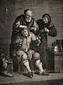 An itinerant surgeon extracting stones from a grimacing pati Wellcome V0016250.jpg