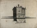 An ornate sedan chair with a state crown on top. Engraving b Wellcome V0041108.jpg