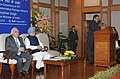 Anand Sharma addressing at the golden jubilee ceremony of IIFT, in New Delhi. The Prime Minister, Dr. Manmohan Singh and the Union Minister for Communications & Information Technology and Law & Justice.jpg