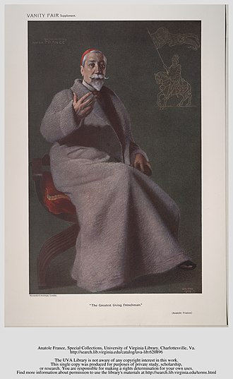 Anatole France - France pictured by Jean Baptiste Guth for Vanity Fair, 1909