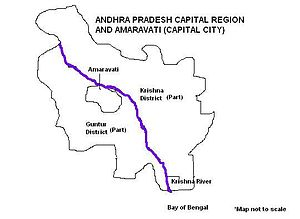 Andhra Pradesh Capital Region - Map showing Andhra Pradesh Capital Region spread across Guntur and Krishna districts with the city of Amaravati on the banks of River Krishna
