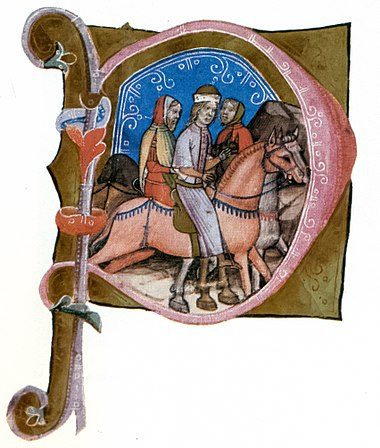 Andrew is brought to Hungary from Venice to fight against King Ladislaus the Cuman (from the Illuminated Chronicle) Andrew III of Hungary - Chronicon Pictum.jpg