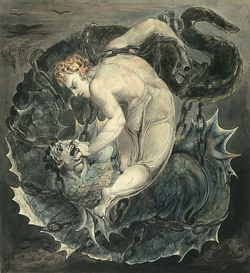 Angel Michael Binding Satan by W.Blake (c. 1805)