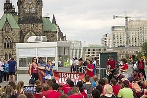 Animal Defense League - Animal Defense League protesters listen to speakers at Parliament Hill, Canada.