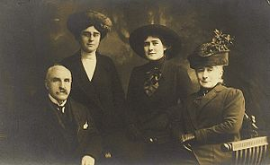 "Anne Griffith-Jones - Family portrait c. 1912. Miss Griffith-Jones with her parents and elder sister Nettie. ""Miss Griff"" is standing second from left. Photo credit: Tanglin Trust School."