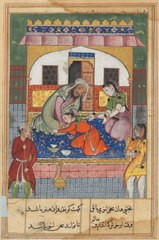Page from Tales of a Parrot (Tuti-nama): Forty-second night: Repenting his conduct, 'Ubaid falls at the feet of his parents