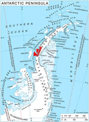 Loubet Coast - Location of Loubet Coast on the Antarctic Peninsula.