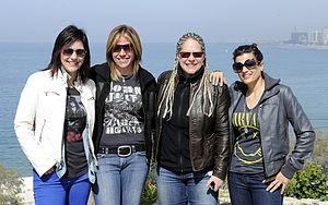 Antigone Rising - Antigone Rising in 2012 (l-r): Kristen Henderson, Dena Tauriello, Cathy Henderson, Nini Camps