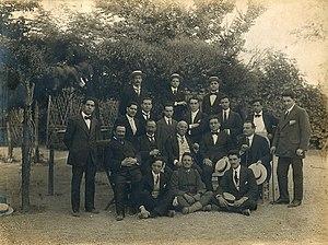Antonio Cotogni - Antonio Cotogni's class at the Accademia di Santa Cecilia in Rome, circa 1911. Antonio Cotogni (center row, center), Beniamino Gigli (top row, right), Enrico Rosati (seated in chair, 2nd from right), Romeo Rossi (far left), Luigi Ricci (behind and to the right of Rosati).