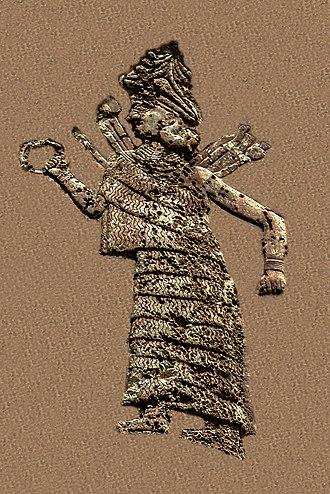 Inanna - Ishtar on the Anubanini rock relief, circa 2300 BC.