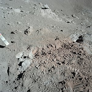 Taurus–Littrow - Close-up of the orange soil discovered on Apollo 17, the result of volcanic glass beads.