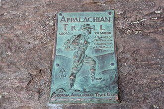 Springer Mountain - Appalachian Trail plaque at top of Springer Mountain