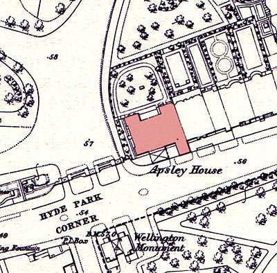 Apsley House on an 1869 map. The neighbouring houses were demolished in the early 1960s to allow Park Lane to be widened. The Wellington Arch has been moved since this time. Apsley house on an 1869 Ordnance Survey Map.JPG