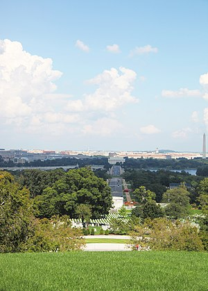 Picture with Washington DC in distance. Taken from Arlington House, the Robert E. Lee Memorial, at Arlington National Cemetery.