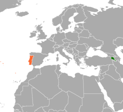 Map indicating locations of Armenia and Portugal