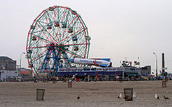 The Wonder Wheel and Astroland Park as seen from the Coney Island Beach.