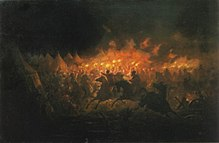 Horsemen holding torches in a camp of tents