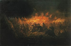 Night Attack at Târgovişte - The Battle With Torches – painting by Theodor Aman