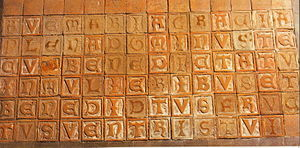 Medieval letter tile - Ave Maria composed of individual letter tiles in Zinna Abbey, Germany