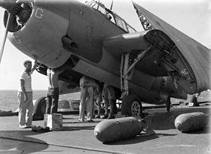 Avenger being armed on HMS Illustrious (87) 1944.jpg