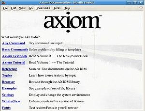 Axiom (computer algebra system) - Image: Axiomfirefox