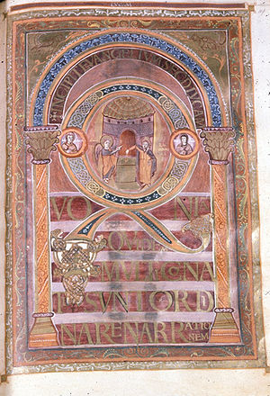 Harleian Library - Harley Golden Gospels, Incipit to Luke, 800-825