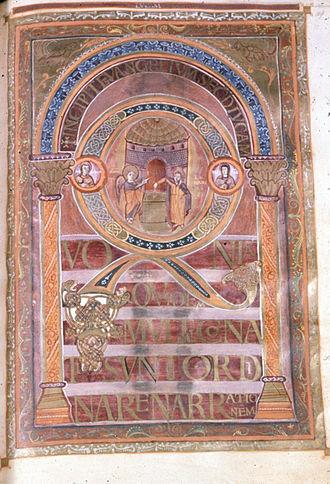 Harleian Library - Harley Golden Gospels, Incipit to Luke, 800-825