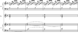Reduction (music) - (a) first four measures of Bach's Preludium in C major (BWV 846a). (b) and (c) block chord reduction and voice leading reduction ease analysis and practice