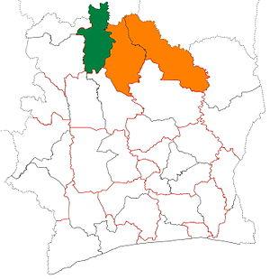 Bagoué - Image: Bagoué region locator map Côte d'Ivoire