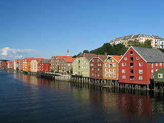 Bakklandet Neighborhood in Trondheim in Trøndelag, Central Norway, Norway
