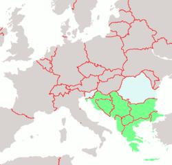 Τρέχων πολιτικός χάρτης των Βαλκανίων. Με πράσινο σημειώνονται οι παρούσες βαλκανικές χώρες και με γαλάζιο χρώμα όσες συνδέονται ιστορικά με τα Βαλκάνια