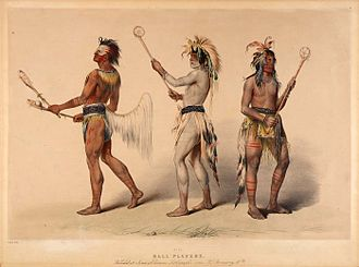"Field lacrosse - ""Ball players"" painted by George Catlin, illustrates various Native Americans playing lacrosse."