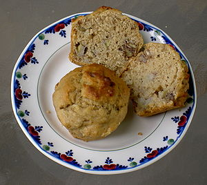 Two muffins prepared from this recipe.