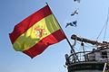 Bandera de España en la popa del Buque Escuela Juan Sebastián de Elcano (14716892192).jpg