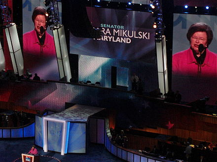 Mikulski speaks at the 2008 Democratic National Convention. - Barbara Mikulski