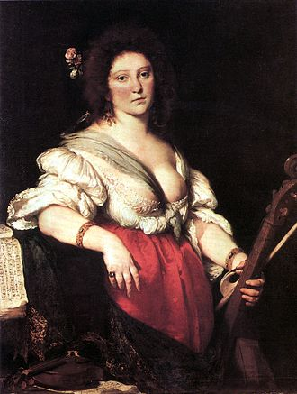 Barbara Strozzi - Gambenspielerin (The Viola da Gamba Player), c. 1630–1640, (Gemäldegalerie, Dresden) by Bernardo Strozzi, believed to be of Barbara Strozzi. It is unclear whether the painter is immediately related to the Strozzi family.