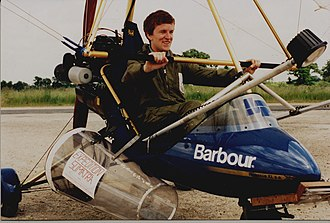 Weight-shift control - An ultralight trike showing the triangular control bar used in weight shift control