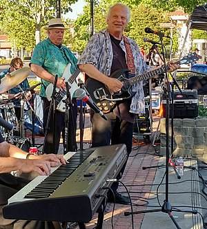 Barry Melton - Melton (r) performing in Lafayette, CA on June 23, 2017