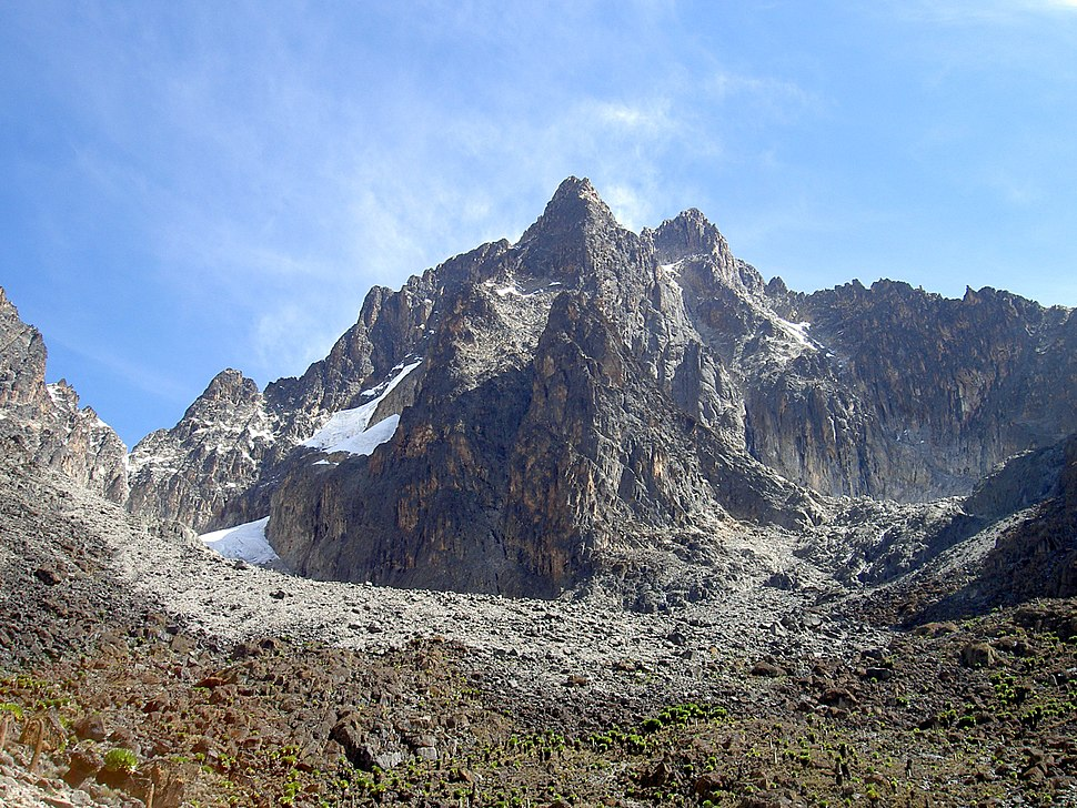 Batian Nelion and pt Slade in the foreground Mt Kenya