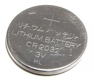 Button cell - Type CR2032 watch battery (lithium anode, 3 V, 20.0 mm × 3.2 mm)