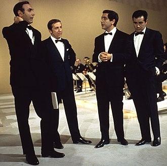 Mike Bongiorno - Mike Bongiorno with Pippo Baudo, Corrado Mantoni and Enzo Tortora.