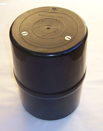Bear-resistant food storage container - An example of a  bear resistant food storage container.