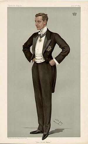White tie - A caricature in Vanity Fair from 1899, showing a British peer wearing white tie