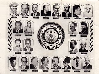 Non-Aligned Movement - Belgrade Conference, September 1961 with representatives from Afghanistan, Algeria, Burma, Cambodia, Cuba, Cyprus, Ethiopia, Ghana, Guinea, India, Indonesia, Iran, Lebanon, Mali, Morocco, Nepal, Saudi Arabia, Somalia, Sri Lanka, Sudan, Tunisia, the United Arab Republic, Yemen, and Yugoslavia.